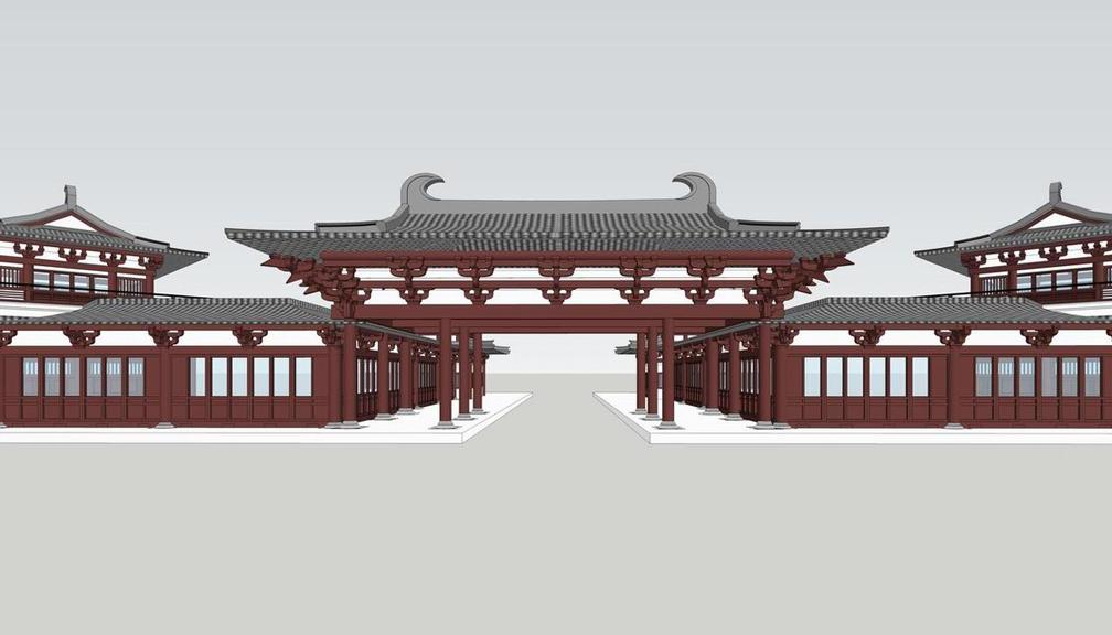 汉唐风古建筑群SU模型