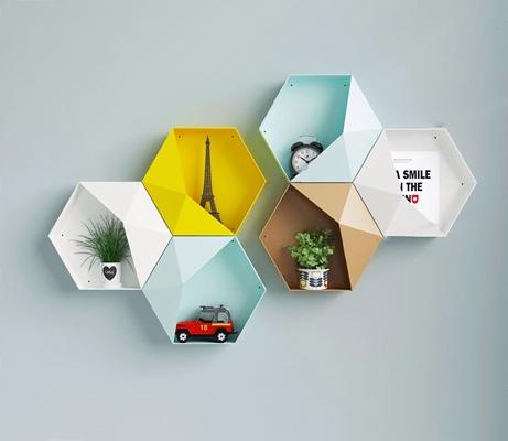 北欧置物架 北欧置物架 层板架 铁塔 时钟 小闹钟 玩具汽车 绿植 盆栽 墙面装饰 墙面饰品