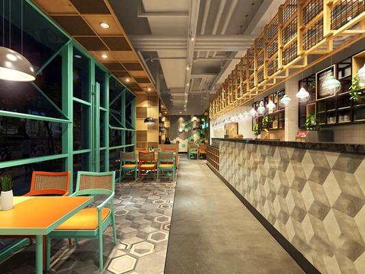 工业风披萨店 工业风餐厅 餐饮店 披萨店 吧台 吊灯 桌椅 墙饰 植物墙
