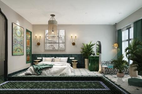 东南亚风格卧室 东南亚卧室 双人床 床头柜 浴缸 编织吊灯 落地绿植 壁灯 组合挂画