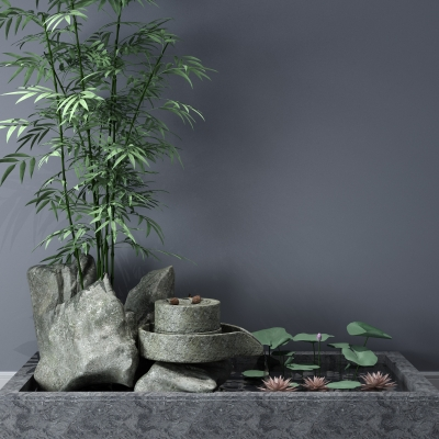 现代石头石磨绿植水景3D模型