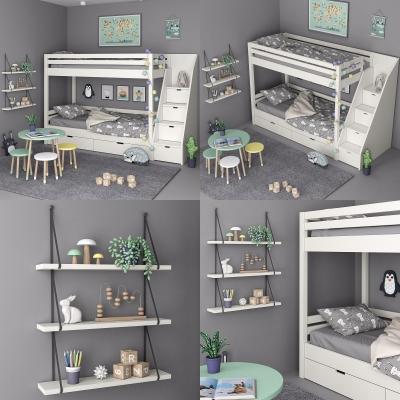 北欧实木儿童高低床3D模型
