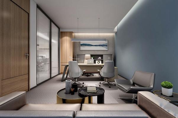现代经理办公室 现代办公室 办公桌 办公椅 沙发 茶几 矮柜