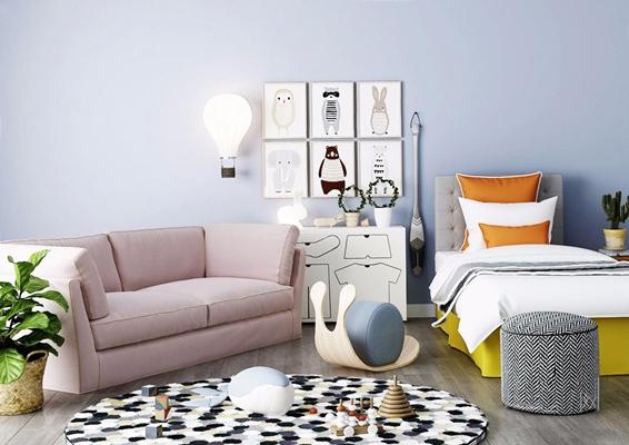 北欧单人床沙发组合 北欧单人床 儿童床 双人沙发 壁灯 挂画 边柜 玩具 凳子 坐垫 植物 圆形地毯