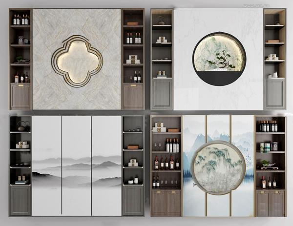 新中式实木酒柜装饰柜3d模型