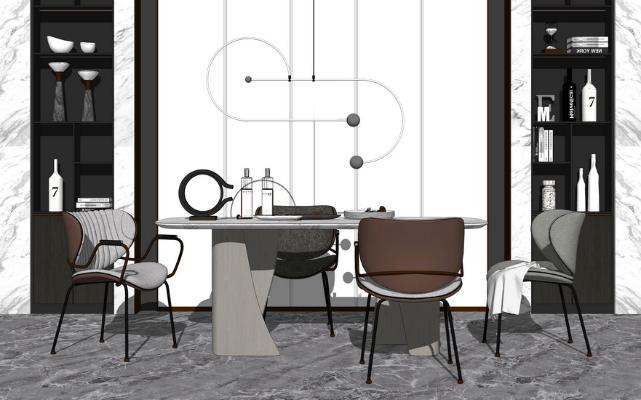 现代餐桌SU模型