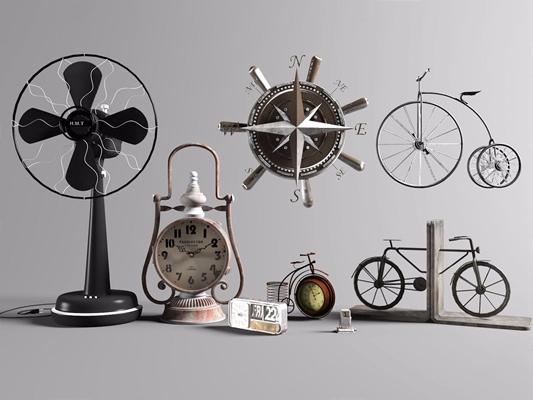 工业风装饰摆件组合 工业风摆件 风扇 闹钟 指南针 自行车摆件