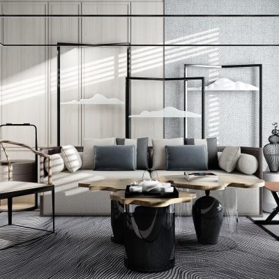 新中式沙发茶几屏风背景墙摆件3D模型