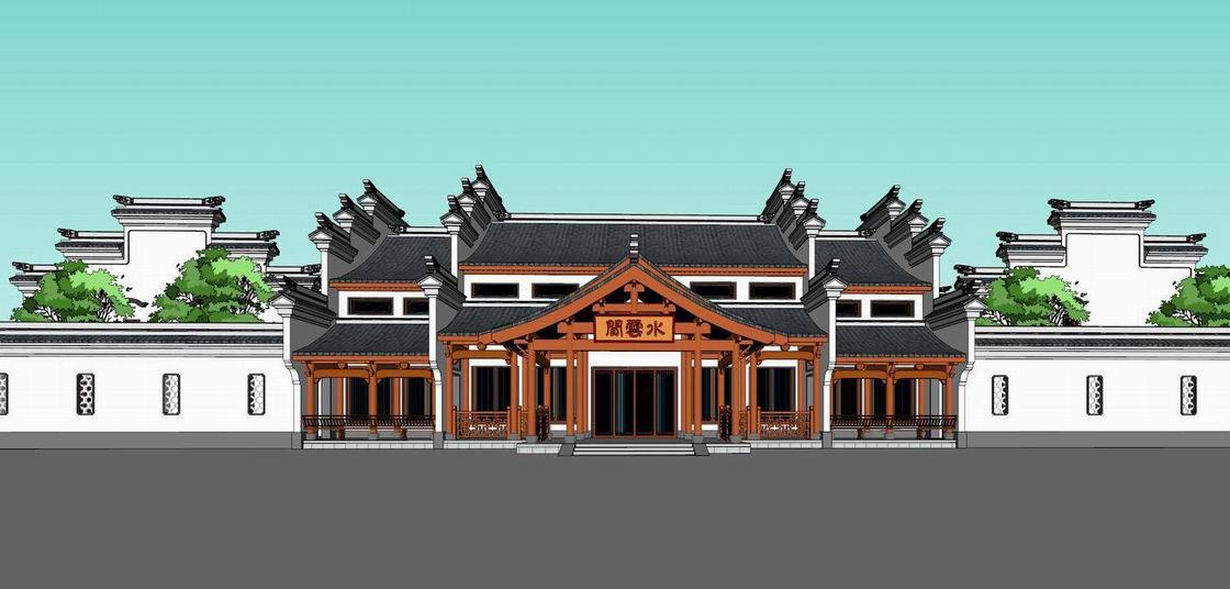 云水阁古建筑SU模型