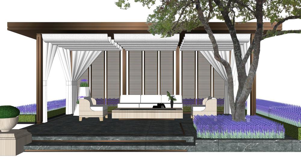 新亚洲新中式廊架SU模型