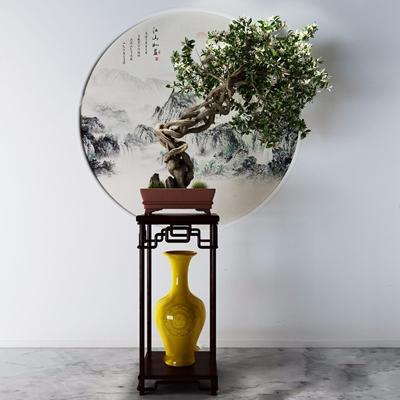 中式盆景 中式绿植 松树盆景 盆栽