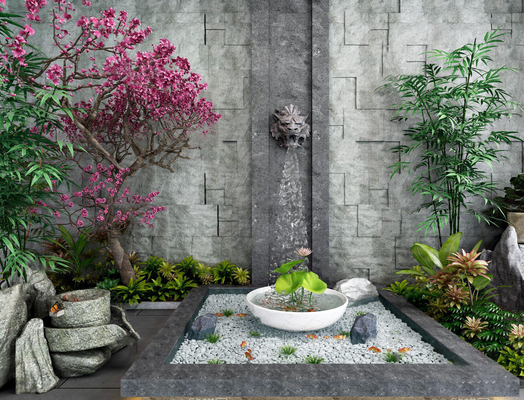 新中式园林景观园艺小品3d模型
