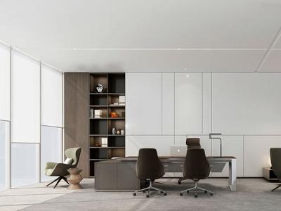 现代总经理办公室3d模型