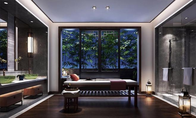 新中式卫生间SPA洗浴 新中式卫生间 SPA 洗浴 洗手台 按摩床 淋浴间 竹子 圆几 凳子 壁灯 镜前灯