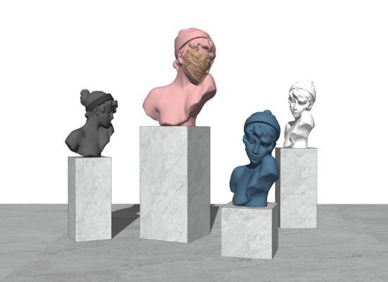 现代雕像摆件SU模型