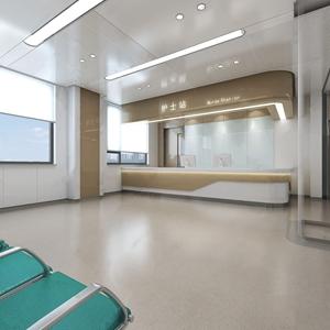 现代医院 现代医院 护士站 等候区 等候椅 前台 电脑