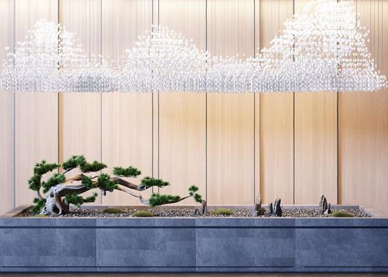 新中式古松园林小景 新中式绿植 松树 石头 假山 玻璃吊灯 中式吊灯 园林 景观