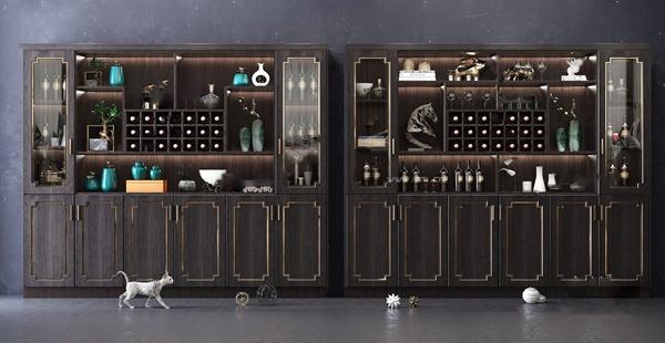 新中式多功能酒柜3D模型