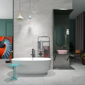 工業風衛生間 工業風衛浴 浴缸 邊幾 臺盆 毛巾掛 裝飾畫 單椅
