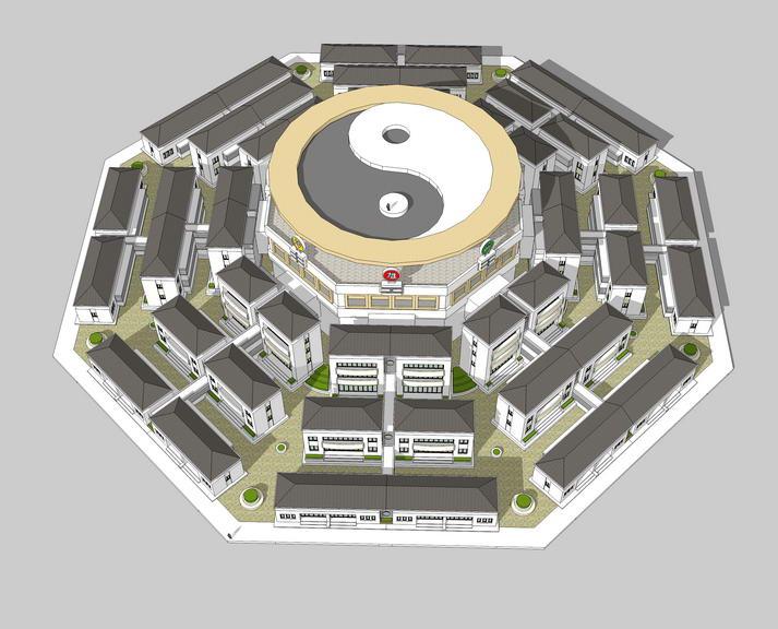 八卦中式别墅SU模型