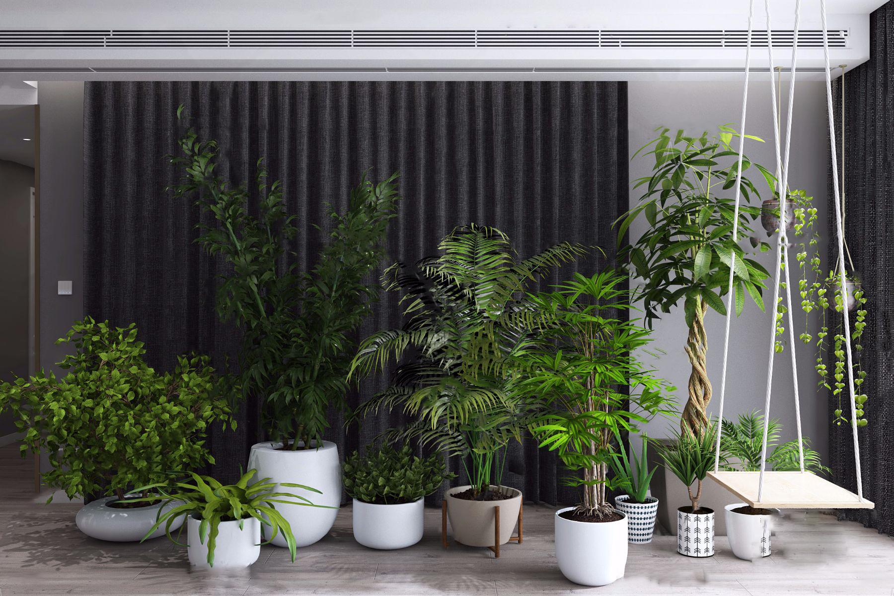 现代绿植盆栽3d模型