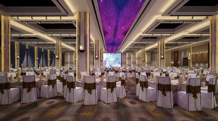 新古典宴会厅 新古典宴会厅 餐厅 餐桌椅 壁灯