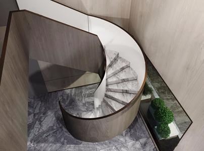现代旋转楼梯 现代楼梯 旋转楼梯 绿植