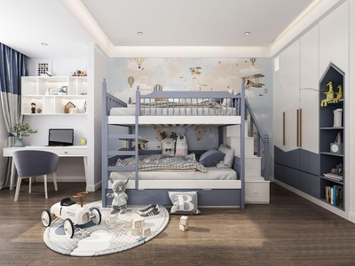 现代上下铺男孩房3d模型