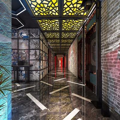 中式KTV走廊 中式娛樂會所 邊柜 包間 走廊 植物擺件 吸頂燈