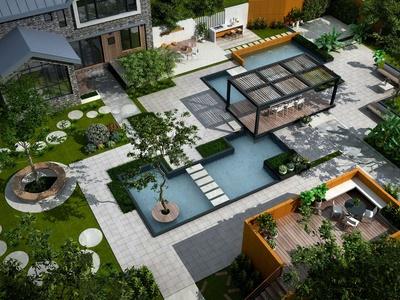 现代庭院鸟瞰3d模型