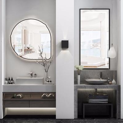 现代洗手台 现代卫浴用品 洗手台 洗手盆 镜子 吊灯 壁灯 洗涤日用 毛巾