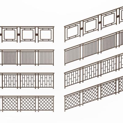 中式金属栏杆扶手3d模型