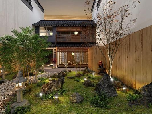 新中式庭院花园 新中式建筑 庭院 花园 景观 路灯 地灯 竹子 石头