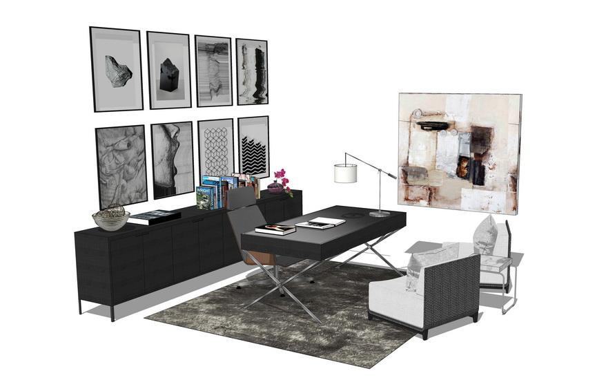 现代书桌书柜组合SU模型