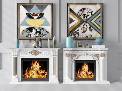 欧式古典壁炉 欧式古典壁炉 摆件 挂画