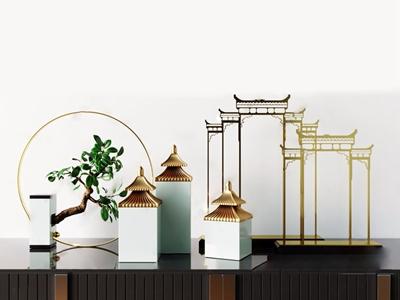 新中式金屬亭臺樓閣擺件 新中式飾品擺件 盆栽 石雕 建筑