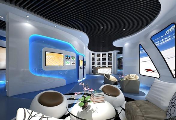 现代展厅 现代展厅 伟星展厅 单人沙发 玻璃茶几 墙壁装饰 服务台
