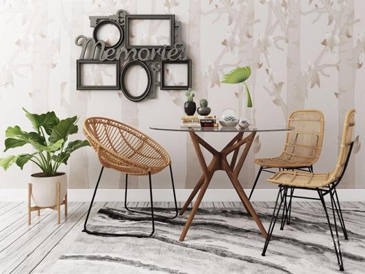 户外休闲桌几组合 户外桌几 腾椅 植物 相框