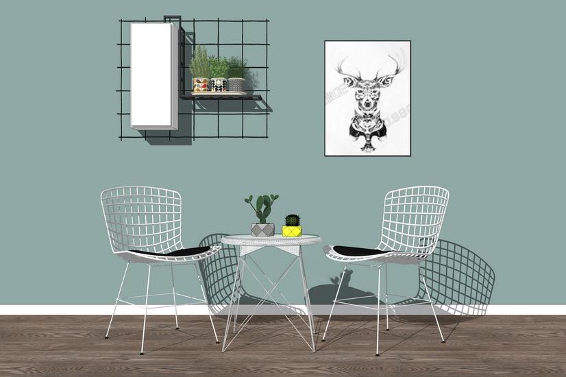 現代休閑桌椅組合SU模型