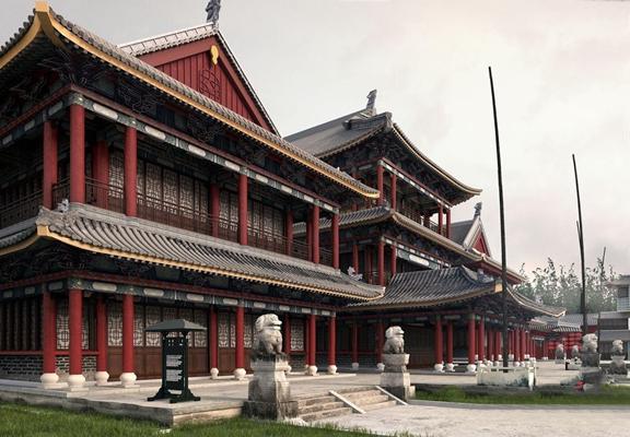 中式建筑 中式建筑 室外建筑 园林