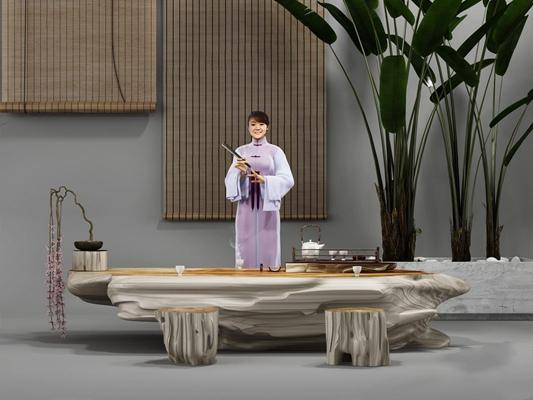 新中式茶台凳子组合 新中式茶台 凳子 珠帘 卷帘 茶具 茶盘 盆栽 模特 人 古装人物
