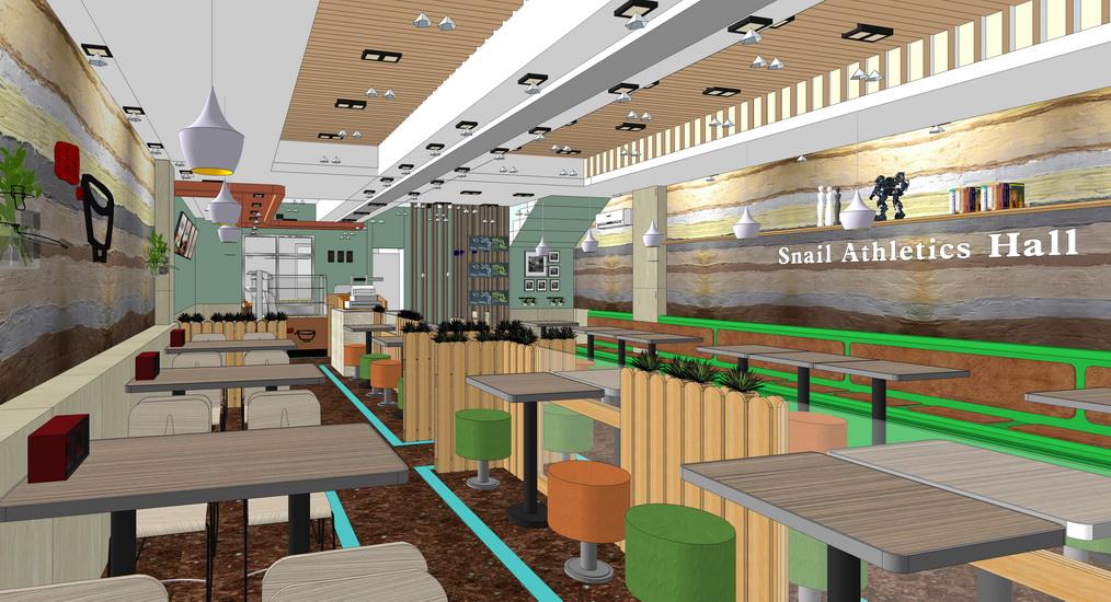 快餐店室内设计SU模型
