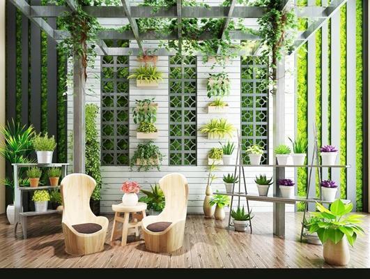 现代北欧小清新阳光房花房户外阳台植物藤蔓绿植休闲椅组合 现代阳光房 休闲椅 植物 植物架 花草 藤蔓