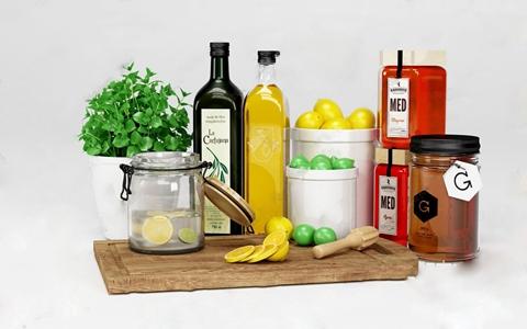 厨房用品 北欧厨房用品 砧板 柠檬 橄榄油 绿植 储藏罐
