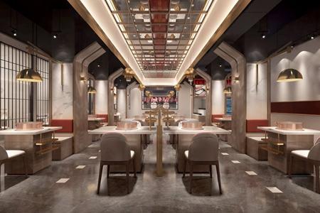 新中式火锅店 新中式火锅店 餐桌 椅子 单头吊灯 金属吊灯 火锅桌子 餐厅
