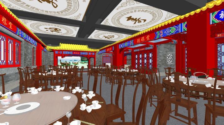 中式餐厅2F室内设计SU模型