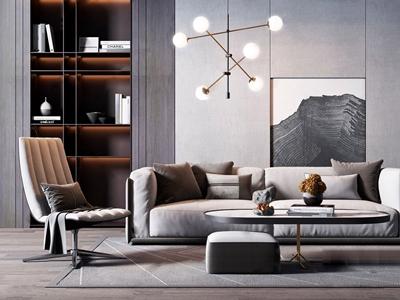 現代奢華沙發椅子茶幾組合 現代雙人沙發 橢圓茶幾 椅子 吊燈 壁柜 抱枕 長桌子