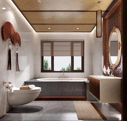 东南亚卫生间 东南亚卫生间 马桶 洗手台 镜子 浴缸 墙饰 镜前灯 吊灯 吊顶