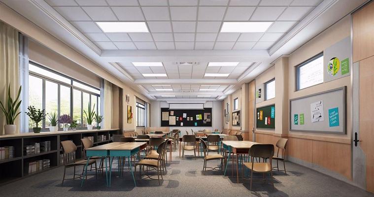 现代教室 现代教室 课堂 幼儿园 培训室 幼儿园活动室 走廊 连廊 美术室 教室