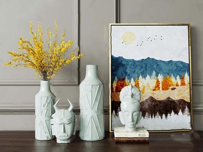 北欧人物头像和花瓶组合 北欧摆件 花瓶 雕塑 挂画
